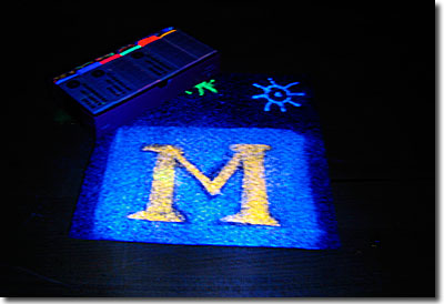 UV chalk glowing